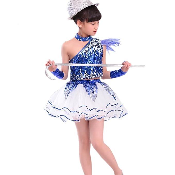 d886e3427 BOZEVON Niños y Niñas Jazz Danza Lentejuelas Danza Moderna Trajes de  Rendimiento