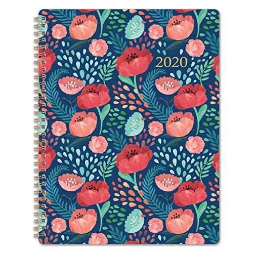 2020 Planner - Weekly & Monthly Planner with Marked Tabs, 8.5 x 11, Hardcover with Thick Paper + Contacts + Calendar + Holidays, Jan. - Dec. 2020, Twin-Wire Binding - Navy Floral