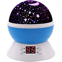 Baby Night Light, DCAUT Rotating Star Moon Projector Night Lamp with Timer Auto Shut Off Colour Change Bedside lamp for…