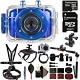 vhs head cleaning kit - Vivitar DVR783HD 720P 5.1MP Waterproof Action Sports Video Camera Blue with 32GB Ultimate Accessory Kit