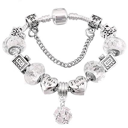 0e4c6a659ee6 QWERST Bracelet Silver Plated Encanto Pulseras para Mujeres con Bonitas  Murano Original Fino Brazalete para Mujer