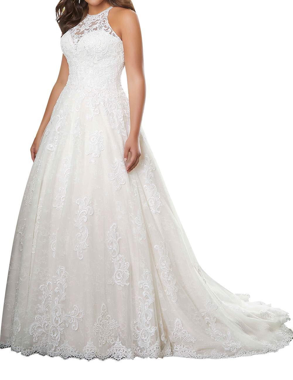 Wedding Dress Lace Bride Dresses Halter Wedding Gown Plus Size Wedding  Dresses A Line Bridal Gowns White