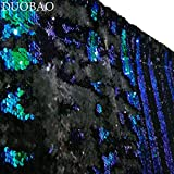 DUOBAO Sequin Backdrop 20FTx10FT Green to Black Mermaid Reversible Sequin Photo Backdrop Green Home Decor Glitter Curtains