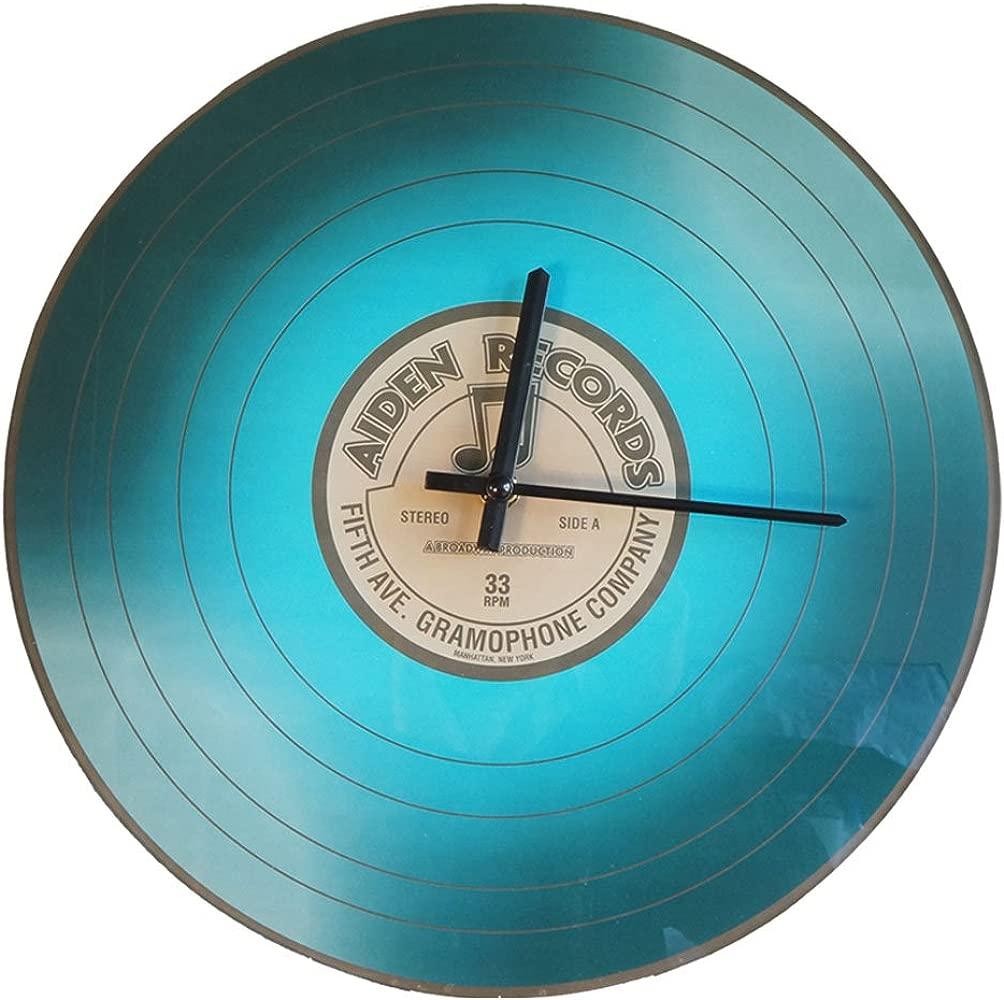 1 x vinilo Reloj de pared Tocadiscos LP de cristal azul Aiden ...