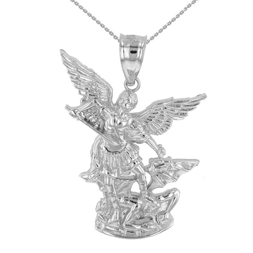10k White Gold Catholic Saint Michael The Archangel Pendant Necklace (1.35''), 22''