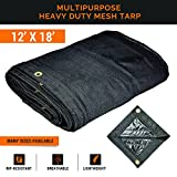 Xpose Safety Heavy Duty Mesh Tarp – 12' x 18' Multipurpose Black Protective Cover with Air Flow - Use for Tie Downs, Shade, Fences, Canopies, Dump Trucks – Waterproof, Weather and Tear Resistant