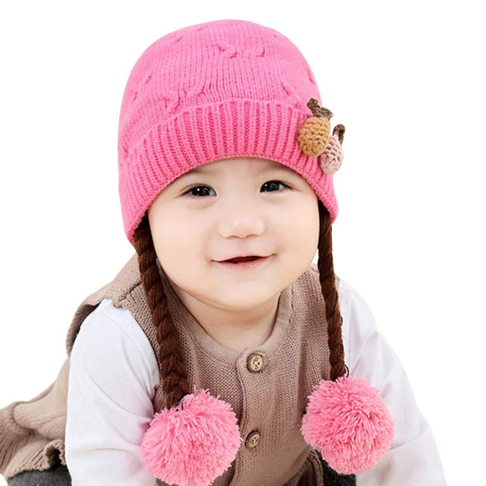 D.ragon Sombreros para bebés de 0 a 12 Meses, Estilo de otoño e Invierno, Suave y cálido Orejas de bebé y para niños Sombrero de Peluca, Lindo para niñas Estilo de otoño e Invierno Lindo para niñas