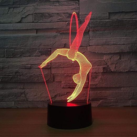 KangYD Lámpara LED de yoga de gimnasia, Luz nocturna 3D ...