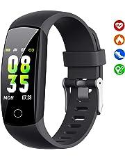 HETP Montre Connectée【2019 W12】 Bracelet Connecté Podometre Cardiofréquencemètre Femmes Homme Enfant Tracker Tension Artérielle Smartwatch Étanche Montre Cardio Sport pour Samsung Huawei iPhone etc.