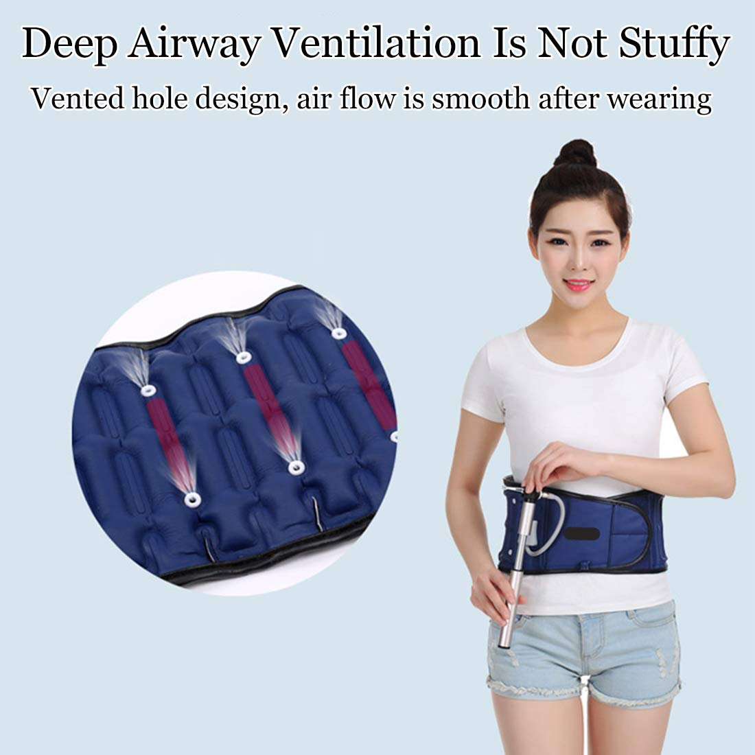 Deep Airway Decompression Back Belt,Decompression Traction Device And Lower Lumbar Support For Back Pain. Blue