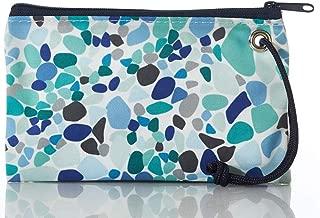 "product image for Sea Bags Sea Glass Wristlet - Zip Top Wristlet - Recycled Sailcloth Wristlet - Nautical Wristlet - 8""l x 5""h"