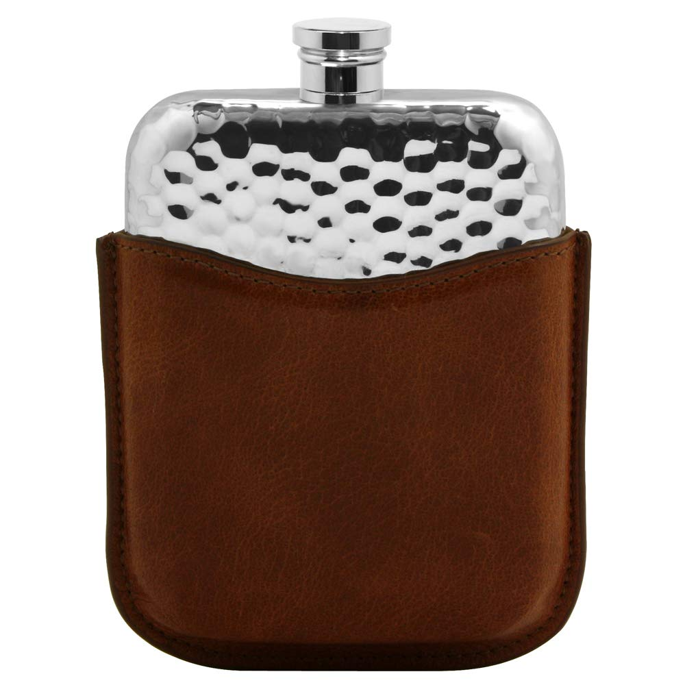 English Pewter Company 6oz Hammered Pewter Liquor Hip Flask with Luxury Brown Leather Pouch [PLF03]
