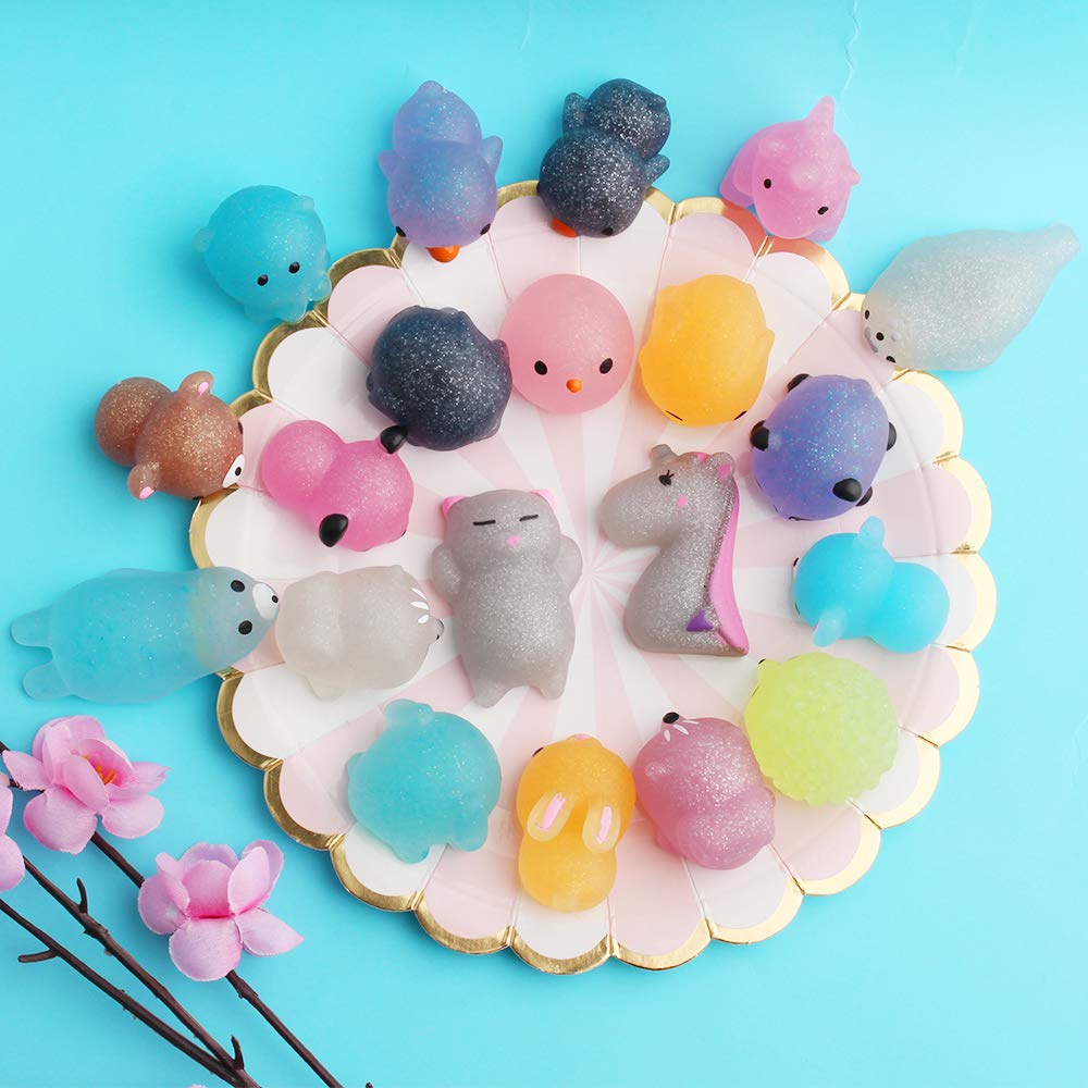 Outee Mochi Squishy Toys 20 Pcs Squishy Stress Toys Glitter Mochi Animals Mini Squishies Mochi Relief Stress Squishies Toys for Kids Adults