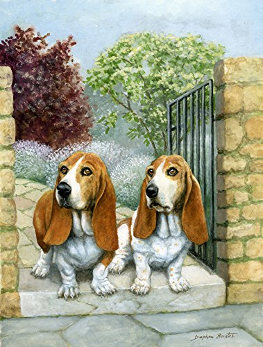 Caroline's Treasures BDBA0390CHF Basset Hounds in The Gate Canvas House Flag, Large, Multicolor