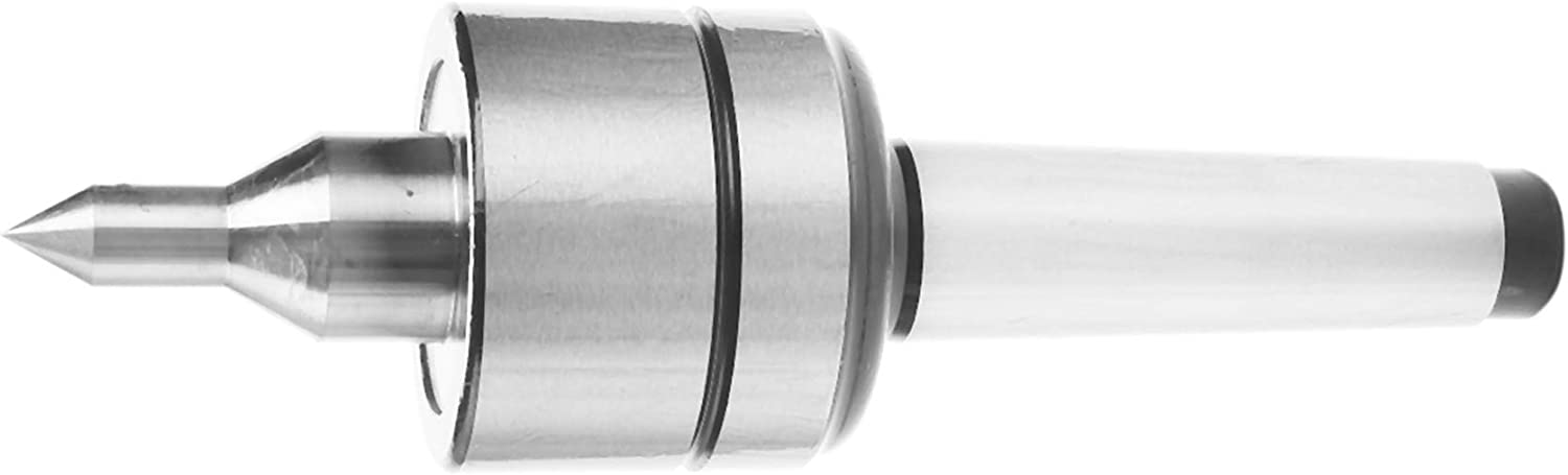 Senmubery 1Pc Durable Mt3 Taper Lathe Live Center Morse Taper Bearing Long Nose Turning Revolving Center for Power Tool 0.000197Inch Wood Lathe Tool