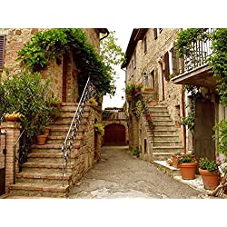 Tuscany Stairways -Oil Painting On Canvas Modern Wall Art Pictures For Home Decoration Wooden Framed (12X16 Inch, Framed)