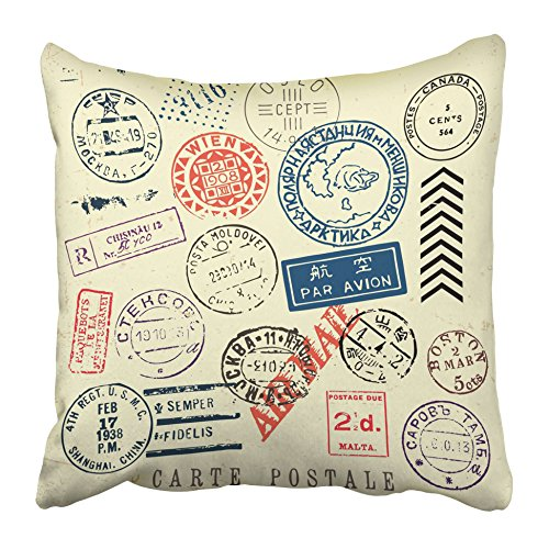 Emvency Decorative Throw Pillow Covers Cases Postage Document Stamp Great for Vintage Designs Shape Antique Approve Blank Border Circle Control 20X20 Inches Pillowcases Case Cover Cushion Two Sided -