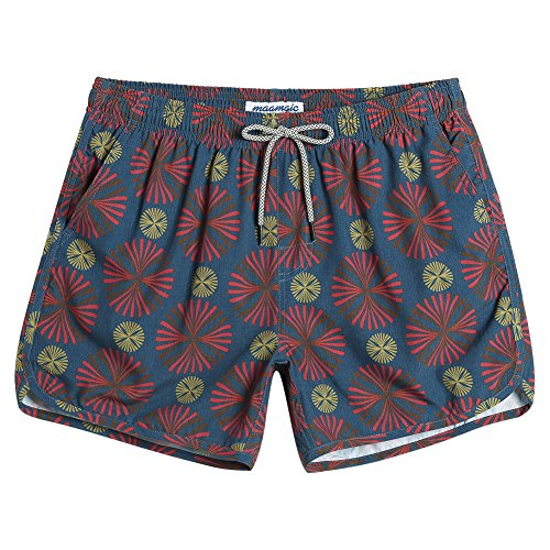 MaaMgic Mens Boys Short 80s 90s Vintage Swim Trunks with Mesh Lining 4 Way Stretch Quick Dry Swimming Trunks Bathing Suits
