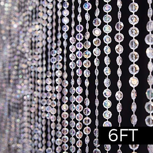 Event Decor Direct 6FT Jewel Crystal Iridescent Diamond Cut Curtain