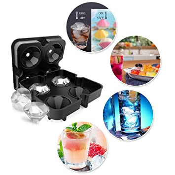 PDR Diamond Ice Mold Tray Cover 2 set Molde de Silicona de Calidad Alimentaria, Multiusos Para Caramelos de Hielo y Bandeja de Escamas de Chocolate sin BPA ...