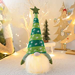 Karleeme Christmas Decorations Handmade Gnome with Led Light Decor Hat Scandinavian Nordic Santa Figurine Elf Plush Doll Holiday Party Home Decoration Gift