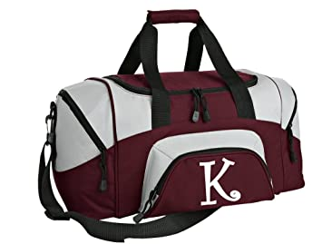 fb03c49ec9 SMALL Personalized Gym Bag Monogrammed Duffel Bag Custom Printed Initial  Maroon