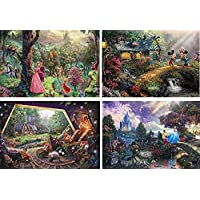 Thomas Kinkade - The Disney Collection 4 in 1 Multi-Pack 500 Pieces Each Puzzle (Sleeping Beauty Mickey & Minnie Mouse Snow White & Seven Dwarfs and Cinderella)