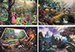 Thomas Kinkade The Disney Collection 4 in 1 Multi Pack 500 Pieces Each Puzzle Sleeping Beauty Mickey & Minnie Mouse Snow White & Seven Dwarfs and Cinderella
