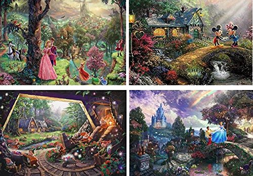 (Thomas Kinkade - The Disney Collection 4 in 1 Multi-Pack, 500 Pieces Each Puzzle (Sleeping Beauty, Mickey & Minnie Mouse, Snow White & Seven Dwarfs, and Cinderella))