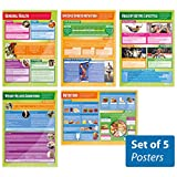 "Set of 5 Health, Fitness and Well Being Posters | Physical Education Charts in high gloss paper (33"" x 23.5"") SHIPS 5-10 DAYS"