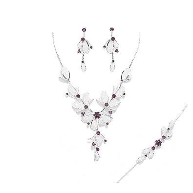 plus gros rabais mode de luxe classique chic Schmuckanthony Parure Mariage Collier boucles d'oreilles Bracelet Motif  Fleurs Feuilles Cristal Violette Lilas Purple