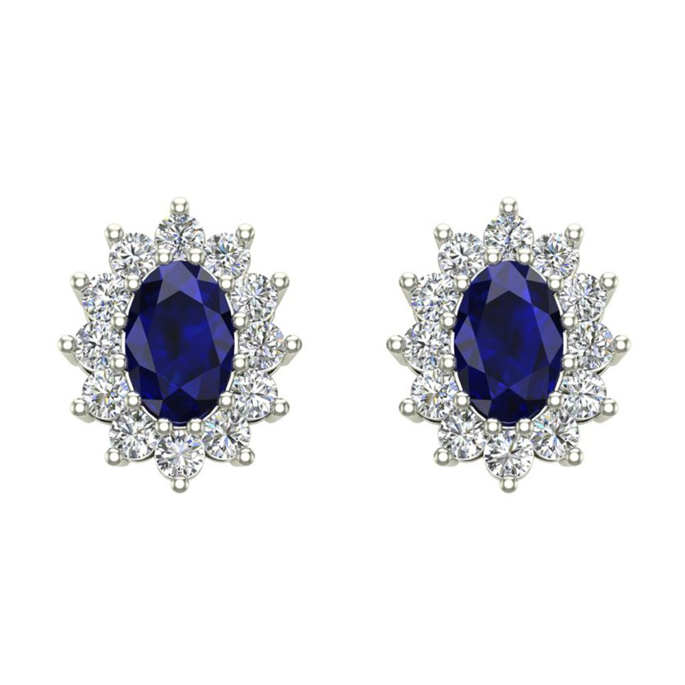 Blue Sapphire Diamond Stud Earrings Classic Oval Cut 14K White Gold 1.50 cttw