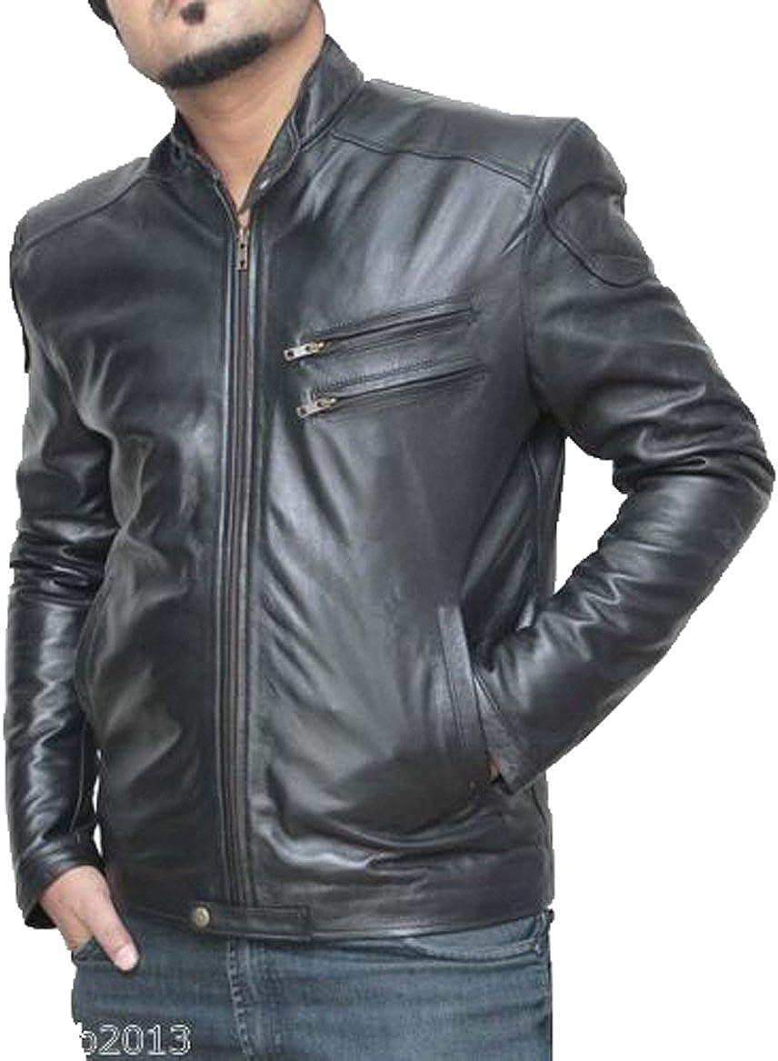 New Genuine Lambskin Leather Designer Jacket Motorcycle Biker Mens S M L XL T959