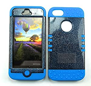 SHOCKPROOF HYBRID CELL PHONE COVER PROTECTOR FACEPLATE HARD CASE AND LIGHT BLUE SKIN WITH MINI STYLUS PEN. KOOL KASE ROCKER FOR APPLE IPHONE 5 5S GLITTER SMOKE LB-A042-AD