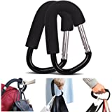 (Pack of 2) Extra Large Stroller Hooks, Mini-Factory Multi-Purpose Hanger Hooks for Diaper, Shopping Bags, Purses - Black