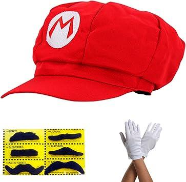 comprar Super Mario Gorra - Disfraz para Adultos y niños en 4 Colores Diferentes + Guantes y 6X Barba pegajosa Carnaval y Cosplay