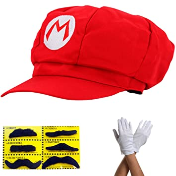 Super Mario Gorra - Disfraz para Adultos y niños en 4 Colores Diferentes +  Guantes y 177259ff205