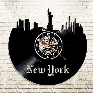CNCN Horloge Murale colorée en Vinyle 1 Pièce Statue de la Liberté New York Horloge USA Patriot Cadeau New York Paysage Urbain Horizon Mur Art Vinyl Record LP Horloge