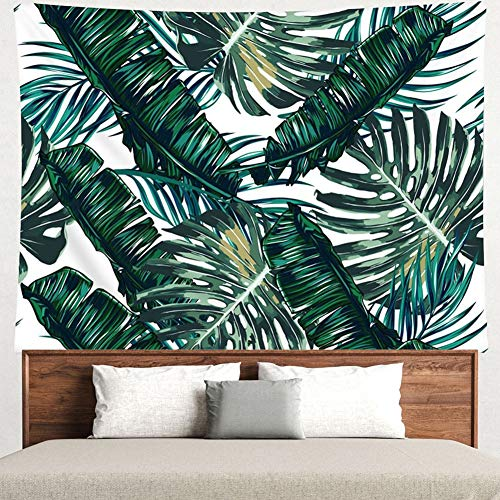 Grace store Leaf Tapestry Palm Tree Leaves Wall Tapestry Mandala Plants Wall Tapestry for Bedroom Living Room Dorm, Twin Size, W78 x L58 - Leaves Wall Tapestry