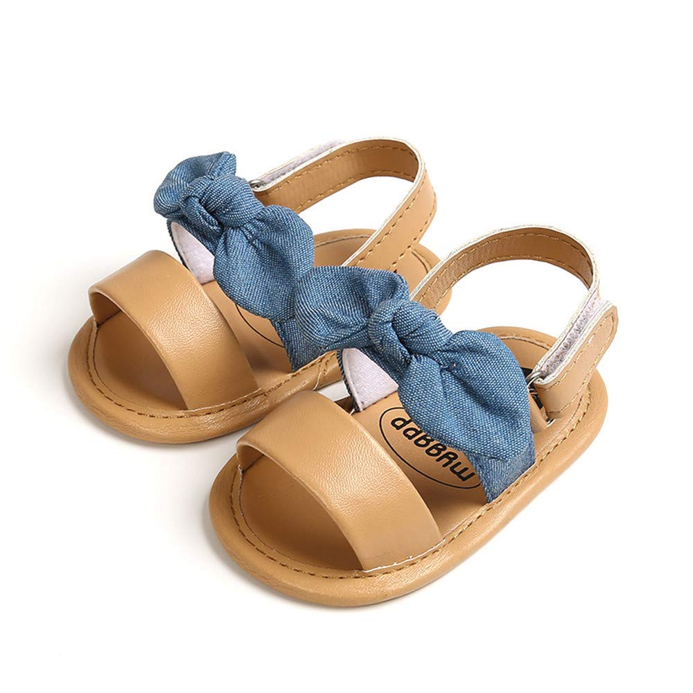 Meckior Infant Baby Girls Summer Flower Sandals Bowknot T-Strap Glittery Open-Toed Butterfly