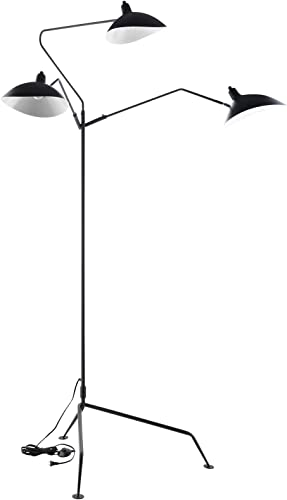 Modway View Contemporary Modern Steel Metal 3-Light Floor Lamp In Black