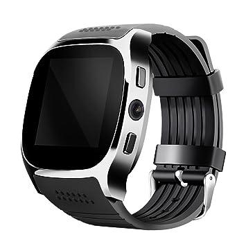 JSGJSH 2018 Pulsera Inteligente T8 Bluetooth Reloj Inteligente con cámara Facebook Whatsapp Soporte SIM TF Tarjeta Llamada Smartwatch para teléfono Android: ...