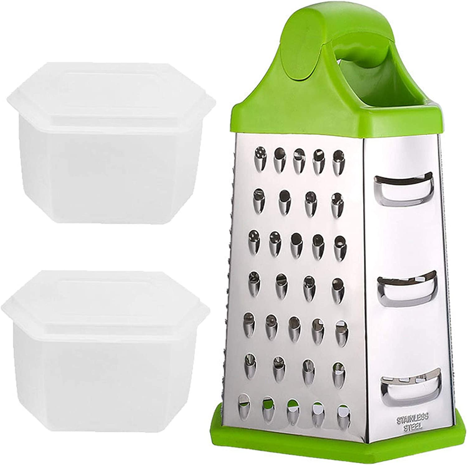 6-Sided Stainless Steel Box Cheese Grater Slicer for Cheeses Shredder Vegetables with Soft Grip Handle and Non-Slip Base, with 2 Attachable Storage Containers(9 inches)