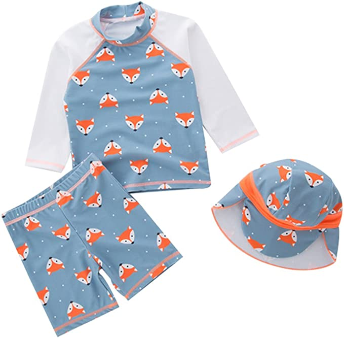 LOSORN ZPY Toddler Boys Two Piece Swimsuit Kids Short Sleeves Bathing Suit with Swim Cap