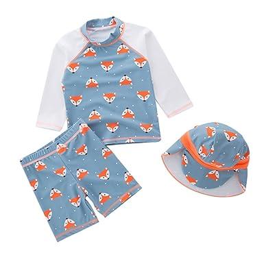 0642a21613a Happy childhood Baby Boy Split Swimsuit Swimwear Fashion Fox Pattern Bathing  Suit Long-Sleeve With
