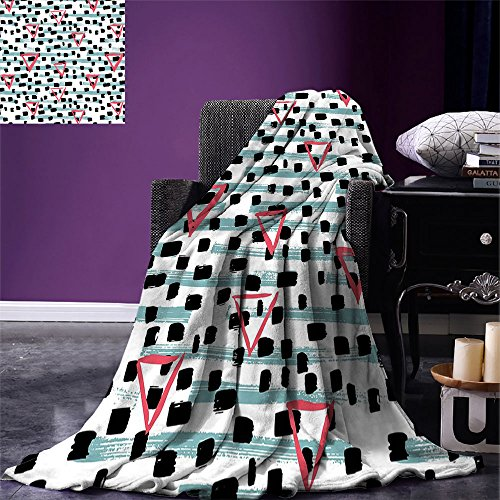 c Digital Printing Blanket Paint Brush Effect Backdrop with Black Dots and Triangles Retro Motifs Summer Quilt Comforter Seafoam Coral Black ()