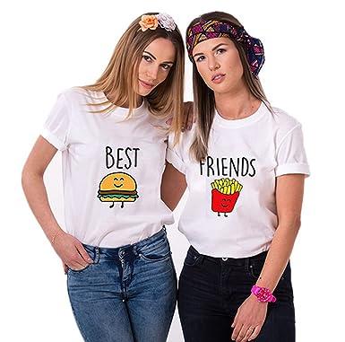 443d7b0aff Couple's Shop Best Friends T-Shirts Cartoon Burger Fries Tees For Teen  Girls Sisters Besties