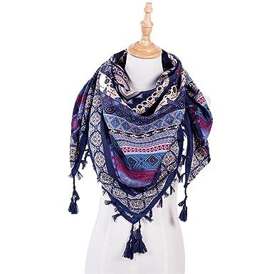 HuaYang Femmes Automne Hiver Mode ethnique bohème confortable Tassel Hem  Bohême Echarpe Foulard en coton - 7a661eb5dd5