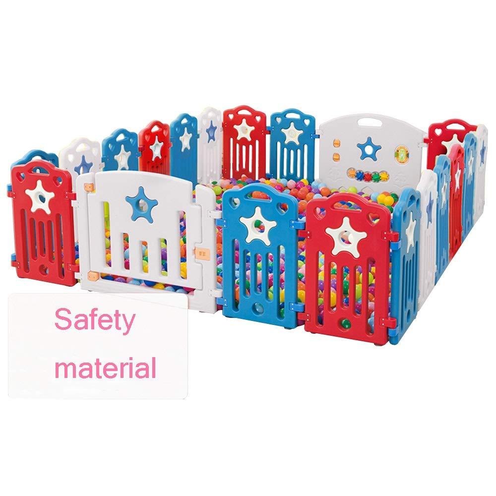 QFFL Baby Playpen、キッズアクティビティセンターポータブルPlayard屋内と屋外のベビーフェンス - ゲーム&ゲートと幼児用ゲームステーション付きセーフプレイヤードプレイペン(20パネル) ベビーサークル   B07SFVL5RN