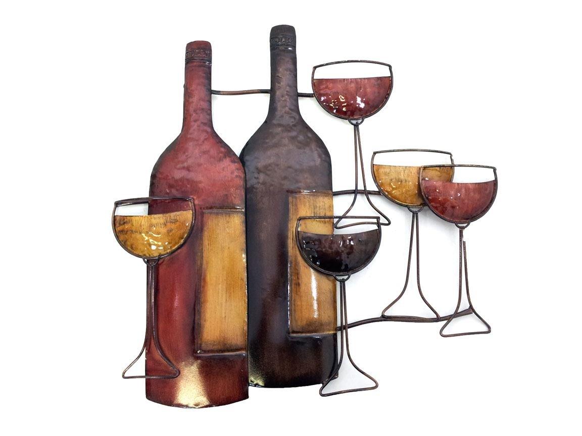 Brilliant Wall Art New - Contemporary Metal Wall Art Decor - Brown Wine Bottle Glasses Scene